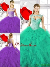 Pretty Beading Sweetheart Quinceanera Dresses with Ruffles SJQDDT133002FOR