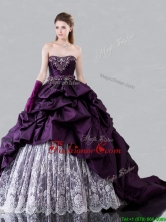 Pretty Brush Train Beaded and Bubble Sweet 16 Dress in Taffeta and Lace XFQD1194FOR
