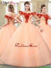 Pretty Off the Shoulder Quinceanera Dresses with Hand Made Flowers YCQD060FOR