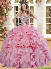 Romantic Beaded and Ruffled Quinceanera Dress in Pink for Spring YSQD004-1FOR