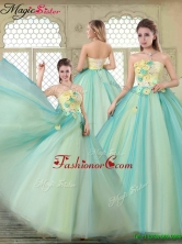 Spring New Arrivals Strapless Quinceanera Dresses with Appliques YCQD033FOR