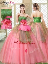 The Most Popular Strapless Quinceanera Dresses  with Hand Made Flowers YCQD068FOR