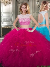 Two Piece Scoop Cap Sleeves Quinceanera Dress with Beading and Ruffles YYPJ025FOR