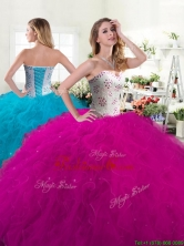 Unique Fuchsia Tulle Quinceanera Dress with Beading and Ruffles YYPJ062FOR