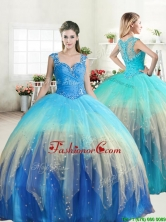 Unique Straps Rainbow Quinceanera Dress with Ruffled Layers and Beading YYPJ046FOR