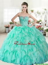 Visible Boning Beaded Bodice and Ruffled Quinceanera Dress in Apple Green YYPJ054-1FOR
