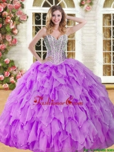 Visible Boning Beaded and Ruffled Quinceanera Dress in Eggplant Purple YSQD008-2FOR