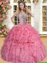 Wonderful Beaded and Ruffled Coral Red Quinceanera Gown in Organza YSQD007-2FOR