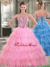 Wonderful Rose Pink Sweet 16 Dress with Beading and Ruffled Layers YYPJ017FOR