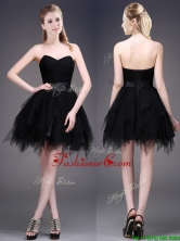 2016 Best Selling Black Short Dama Dress with Ruffles and Belt BMT0116FOR
