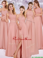 2016 Best Selling Chiffon Peach Long Dama Dress with Ruching BMT0166FOR