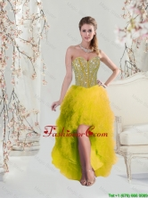 2016 Classical High Low Sweetheart Yellow Dama Dresses with Beading and Ruffles QDDTA5004-1FOR