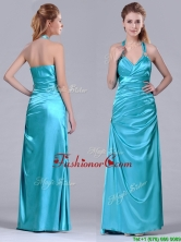 2016 Column Halter Top Elastic Woven Satin Aqua Blue Dama Dress with Ruching THPD251FOR