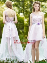 2016 Comfortable One Shoulder High Low Dama Dress with Sashes and Lace BMT0101AFOR