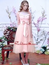 2016 Comfortable Square Half Sleeves Bowknot Dama Dress in Baby Pink BMT0106AFOR