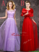 2016 Discount Beaded and Applique Cap Sleeves Long Dama Dress in Tulle BMT0165FOR