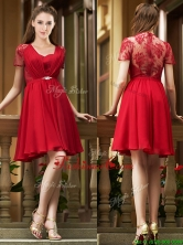 2016 Elegant See Through Back Red Short Dama Dress with Short Sleeves BMT0177FOR