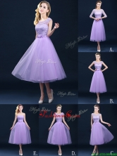 2016 Exclusive A Line Tulle Lavender Dama Dress in Tea Length BMT0184FOR