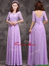2016 Exclusive Scoop Half Sleeves Lavender Dama Dress with Appliques and Lace BMT0170AFOR