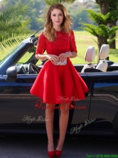 2016 Exquisite Laced Scoop Half Sleeves Dama Dress in Red BMT0141FOR