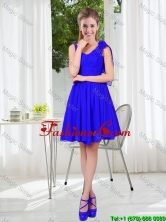 2016 Fall Straps Short Dama Dresses in Royal Blue BMT001C-5FOR