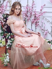 2016 Gorgeous Off the Shoulder Cap Sleeves Dama Dress with Bowknot BMT0106FFOR