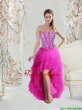 2016 Inexpensive High Low Sweetheart Fuchsia Dama Dresses with Beading and Ruffles QDDTA5004-2FOR