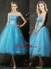 2016 Lovely Strapless Applique Bust Baby Blue Dama Dress in Tea Length BMT0149FOR
