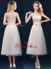 2016 Low Price Strapless Belt Champagne Long Dama Dress in Tulle BMT0185EFOR