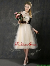 2016 Luxurious High Neck Champagne Dama Dress with Hand Made Flowers and Lace BMT0143CFOR