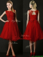 2016 Modest Knee Length Red Dama Dress with Beading and Appliques BMT0190BFOR