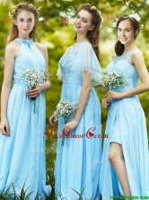 2016 Modest Light Blue Empire Long Dama Dress with Appliques BMT0110FOR