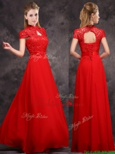 2016 New Arrivals Applique and Laced High Neck Dama Dress in Red BMT0171AFOR