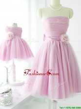 2016 New Arrivals Strapless Baby Pink Dama Dress with Handcrafted Flower BMT0147AFOR