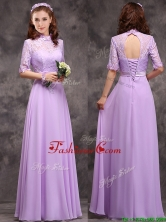 2016 Perfect High Neck Handcrafted Flowers Dama Dress with Half Sleeves BMT0170FFOR
