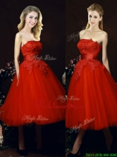 2016 Perfect Puffy Skirt Strapless Applique Tea Length Red Dama Dress BMT0152FOR