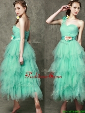 2016 Popular One Shoulder Dama Dress with Ruffled Layers and Hand Made Flowers BMT095AFOR