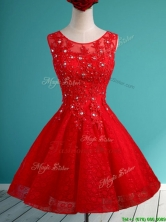 2016 Popular Scoop Red Short Dama Dress with Beading and Appliques BMT0120AFOR