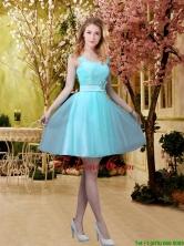 2016 Pretty Aqua Blue Short Dama Dresses with Belt BMT032CFOR