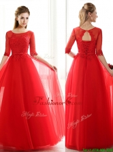 2016 See Through Scoop Half Sleeves Red Dama Dress with Lace and Belt BMT093-1FOR