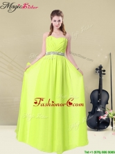 2016 Spring Hot Sale Empire Sweetheart Belt Dama Dresses in Yellow Green BMT008-10FFOR