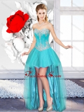 A Line Sweetheart Beautiful 2016 Dama Gowns with High Low SJQDDT124004FOR
