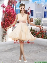 Affordable Champagne V Neck Dama Dresses with Belt and Ruching BMT061CFOR