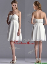 Beautiful Beaded Decorated Waist Chiffon Dama Dress in White THPD190FOR