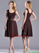 Best Selling Empire Ruched Brown Dama Dress with Wide Straps THPD024FOR