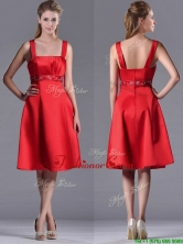 Best Selling Square Beaded Decorated Waist Dama Dress in Knee Length THPD176FOR