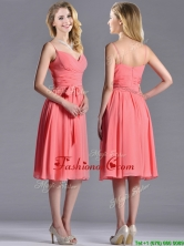 Best Spaghetti Straps Watermelon Dama Dress with Ruching and Bowknot THPD231FOR
