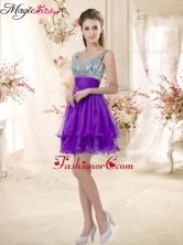 Best Straps Short Purple Dama Dresses with Sequins BMT072-4FOR