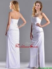 Cheap Beaded and Ruched Decorated Bodice Dama Dress with One Shoulder THPD078FOR