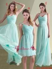 Cheap Straps Beaded and Ruched Aqua Blue Dama Dress in Chiffon BMT086AEFOR